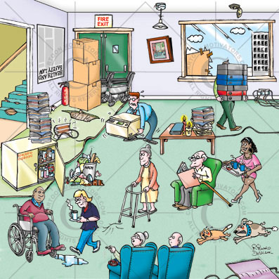 cartoon of care home showing safety hazards, worker in high heels, patients smoking in non smoking area, trip hazard, medicine cupboard left open, stair carpet has rips in it, incorrect lifting and carrying too much