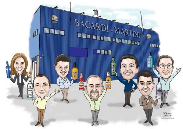 caricature of Bacardi Martini team outside their main building holding up bottles of their products, full colour caricature from photos, factory building