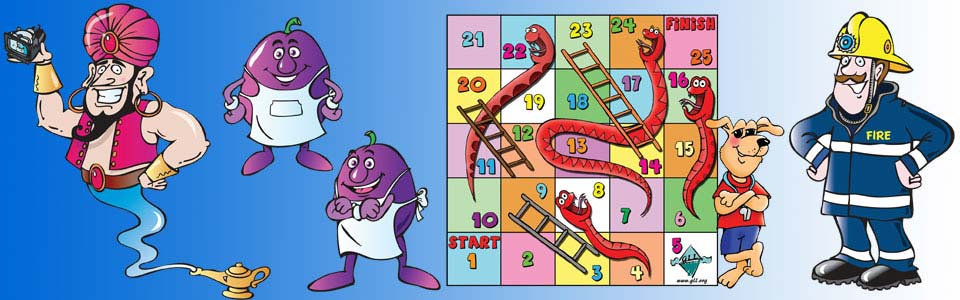 cartoon of a genie, two plum cartoon characters, a snakes and ladders game board illustration with a dog cartoon character and a fireman
