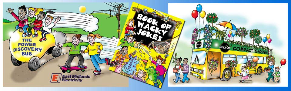 cartoon of kids riding along on a giant electrical bulb on wheels, The Power Discovery Bus, front cover of a childrens book 'Book Of Wacky Jokes' and a double decker tour bus decorated with flowers and bushes, balloons